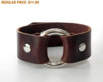 Brown Leather Bracelet Leather Cuff Leather Bangle with Metal O Ring