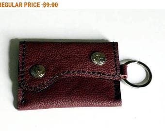 Maroon Leather Coin Change Leather Coin Purse Leather Coin Bag Leather Hand Cut Hand Stitch with Snap Button