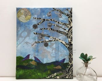 Original Artwork- Original Mixed Media- Original Collage Artwork - 8 x 10 Canvas Art