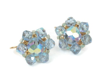 Blue AB Crystal Earrings Beads Clip On Vintage