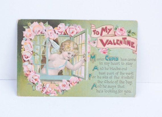 Cupid at the Window Valentine Postcard 1912 Antique Florals Cupid