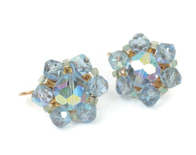 Blue AB Crystal Earrings Beads Clip On Vintage