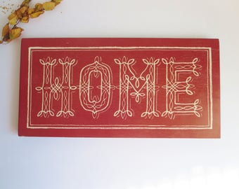 Vintage Wooden Home Sign - 'HOME' Wall Decor - Dark Red Painted Rustic Sign- Rustic Wood Sign - Wooden Home Sign