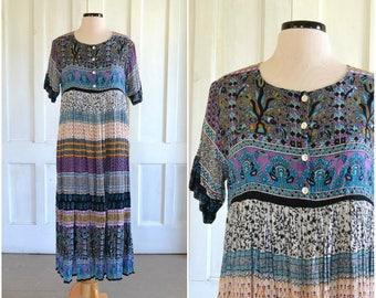 Vintage Indian Ethnic Dress Empire Waist Gauze Midi Dress Micro Pleated Festival Maxi Dress