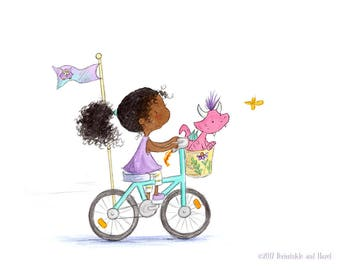 Just Another Saturday Afternoon - African American Curly Hair Brunette Riding Bike with Pink Dragon - Art Print