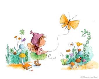 Caraway Star's Butterfly Kite  - Brunette Fairy Flying Kite  - Fairy Art - Art Print