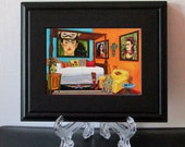 Frida Kahlo Print, Frida Kahlo Bedroom, Interior,  Small Framed Art, Frida, Small Gift, Mexican Art