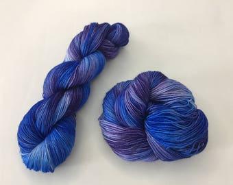 Hand-dyed Stellina Merino Sock Wool - Blueberry Twist - 4 ply