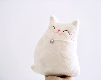 white stuffed cat, cat decor, toddler toy cat, plush cat, cat softie, cat, doll cat, kitty snow, cat soft toy, baby shower gift