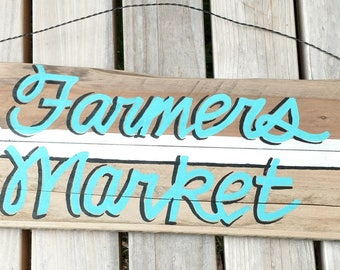 Farmers.market hand painted sign art on pallet wood farmhouse style with arrow