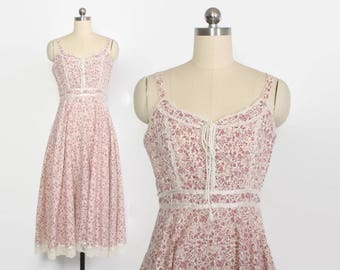 Vintage 70s GUNNE SAX Dress / 1970s Pink Floral Corset Laced Full Skirt Midi Sun Dress S