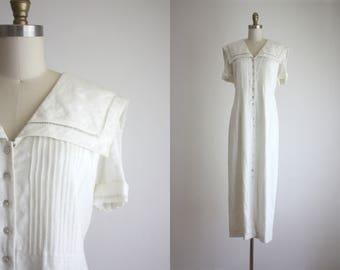 collared linen market dress