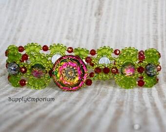 Utopia Bridges Beadwoven Bracelet, Czech Glass Button Close Cabochon and Superduo Beaded Bracelet