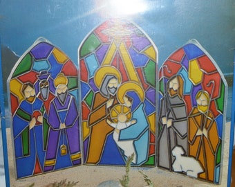 EZE FORM baking crystal form stained glass look Christmas Nativity scene kit new in box