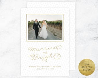 Christmas Wedding Announcement, Newlywed Christmas Card, Christmas Marriage Announcement, Gold Foil Christmas Marriage Announcement, PDF