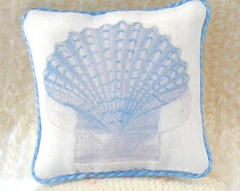 1:12 Pillow - Scallop Seashell - Handmade Scale Miniature Dollhouse - Shabby Beach **Free Shipping**