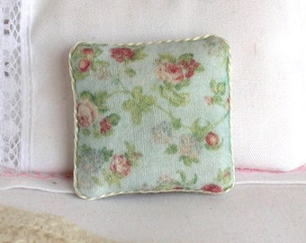 1:12 Pillow - Floral on Seafoam Green - Handmade Dollhouse Scale Miniature - Shabby Cottage Chic *Free Shipping*