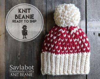 hand knit beanie - Toddler red fair isle - infant beanie - with pom pom - chunky knit - ready to ship - valentines day gift