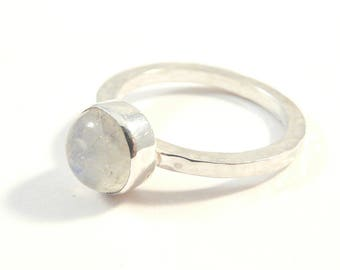Minimalist sterling silver ring with moonstone