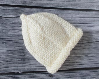 Preemie Baby Hat 3 to 5 pounds, Hand Knit Newborn Baby Beanie, Natural Color Ivory Cream, Coming Home Hospital Hat, Premature Size Pixie Cap
