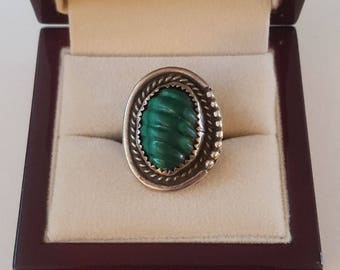 Navajo Sterling Silver Malachite M. Yazzie Signed Ring Size 7 ~ Native American