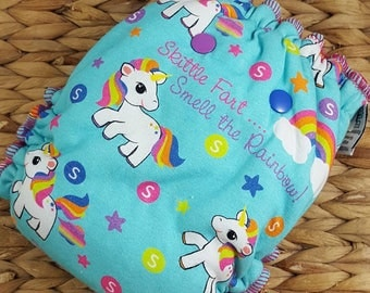 Skittle Farts *Made to Order CUSTOM Fitted Cloth Diaper* unicorn, rainbow, girly, hybrid fitted, cloth diaper, AI2, windpro, bamboo fitted