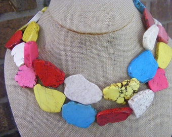 Bold, Multicolor Turquoise Freeform Slab Nuggets Beaded Double Necklaces Ladies