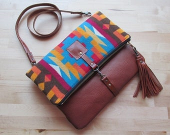 Leather crossbody bag, Bohemian bag, hippie bag, fold over clutch, fold over purse, Oregon wool fabric and leather clutch with leather strap