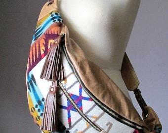 Bohemian cross body bag, Leather bag, Wool bag, Hobo shoulder bag, Wide strap slouchy bag, Leather handbag, cotton lined leather bag