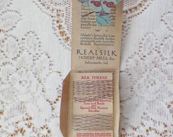Pretty Asian Themed Real Silk / Realsilk Milady's Service Kit Silk Thread, Realsilk Hosiery Mills, Inc., Indianapolis, Indiana, Hose Repair