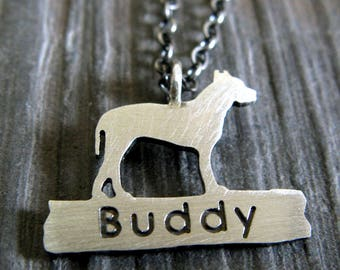 Pit Bull pitbull name pendant neckace. American Staffordshire Terrier dog jewelry. Sterling silver. Pitbull post jewelry. Animal rescue.