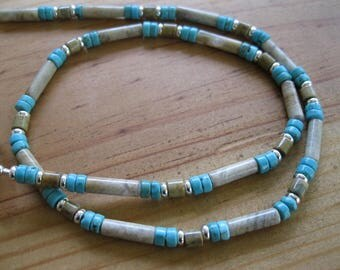 Tan Jasper, Turquoise, Silver Necklace, Womens Beaded Necklace, Mens Turquoise Necklace, Mens Tribal Necklace, Native American Necklace