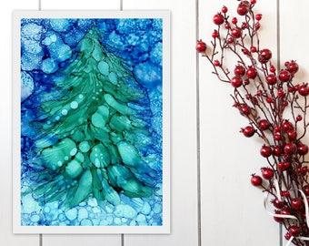 Christmas Tree Printable Art, Abstract Tree Print, Alcohol Ink Painting Print, Christmas Decor Wall Art Instant Download, A4 8x11 9x12 print