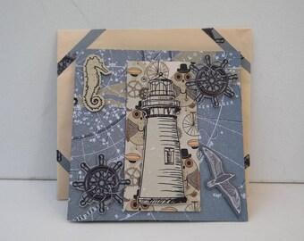 3D Dimentional Light House Designer Envelope and Card