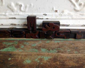 Lot of 8 Vintage Letterpress Letters Blocks Printing Press Wood