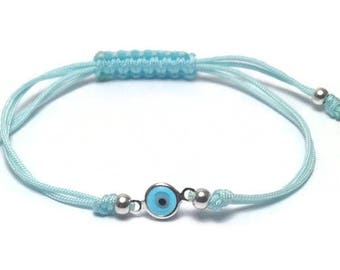Evil eye bracelet  - tiny blue eye  - protection - Greek jewelry - Greek mati - minimalist jewelry