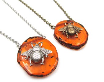 NEW Best Seller - Bumble Bee Amber Pendant Necklace (BRNK116)