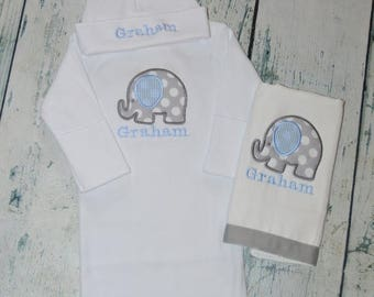 ON SALE Personalized Elephant Infant Gown Burp Cloth and Cap Set Layette Baby Gift