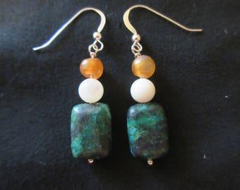 Sterling Silver Azurite White Agate Orange Agate Beaded Hook Earrings