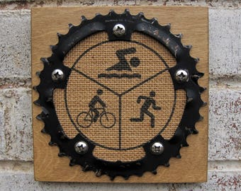 """6""""x6"""" Recycled Bicycle Chainring Triathlon Plaque"""
