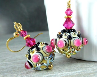 Hot Pink Ivory Gold Black Glass Dangle Earrings, Modern Jewelry, Unique Funky Bumpy Earrings, Unusual Bead Jewelry Fuchsia Lampwork Earrings