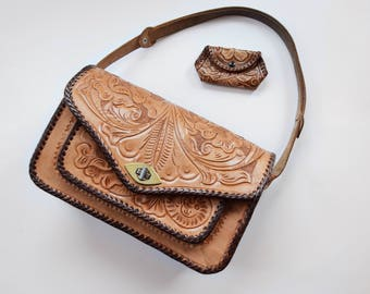 Mexican 50s/60s Large Tooled Leather Bag