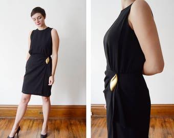 Black 1980s Jones New York Cocktail Dress - S/M