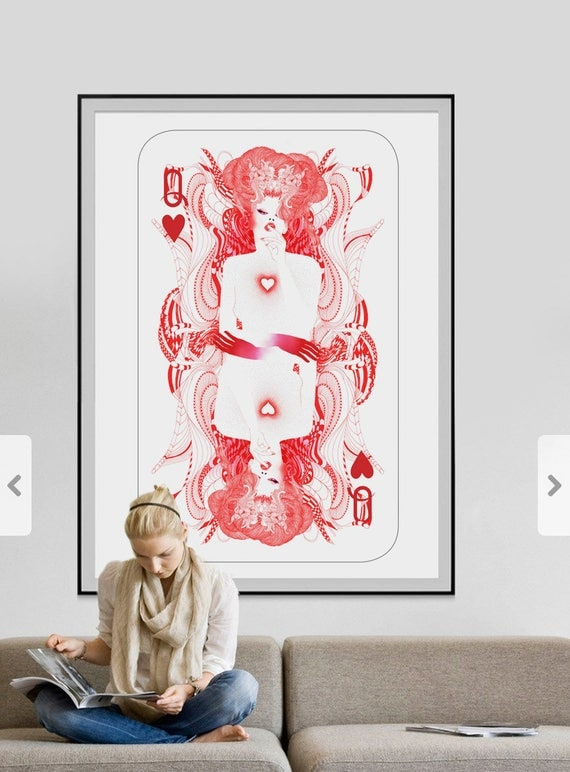 The Queen of Hearts // Playing cards art prints // Sophisticated Limited edition art print
