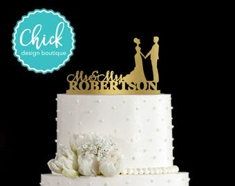 Custom Name and Couple Holding Hands Wedding Cake Topper Hand Painted in Metallic Paint