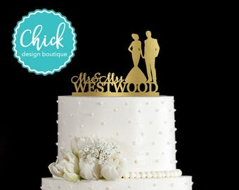 Custom Name and Couple Holding Hands, Bride in Mermaid Dress Wedding Cake Topper Hand Painted in Metallic Paint