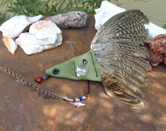 Featured listing image: Hand Made Pheasant Wing Smudge Fan with with Tree Of Life and Crystal