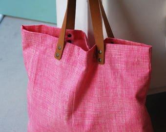 Large tote bag pink geometric fabric