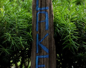 Driftwood Lake Sign , Natural Home Decor , Rustic Wood Decoration for the Lake House