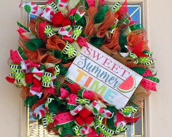 Sweet Summer Time Watermelon Wreath,Burlap Wreath,Summer Wreath,Watermelon Wreath,Front Door Wreath,Summer Decoration,Watermelon Decoration
